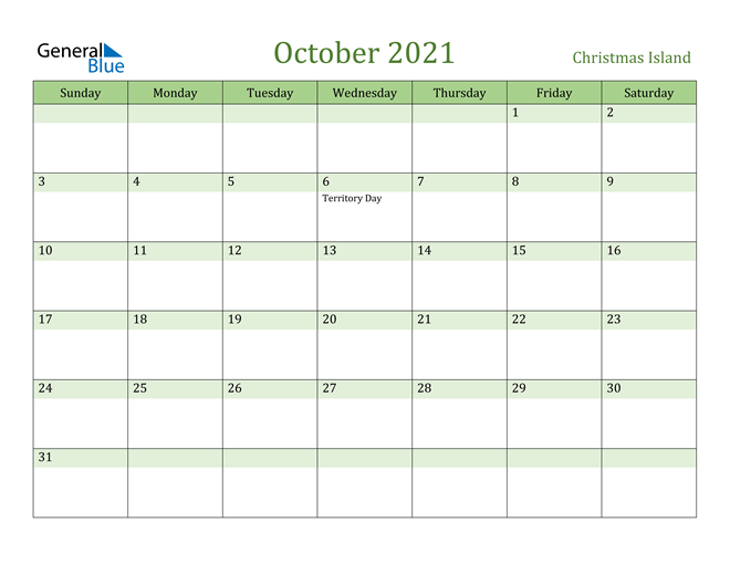 October 2021 Calendar with Christmas Island Holidays