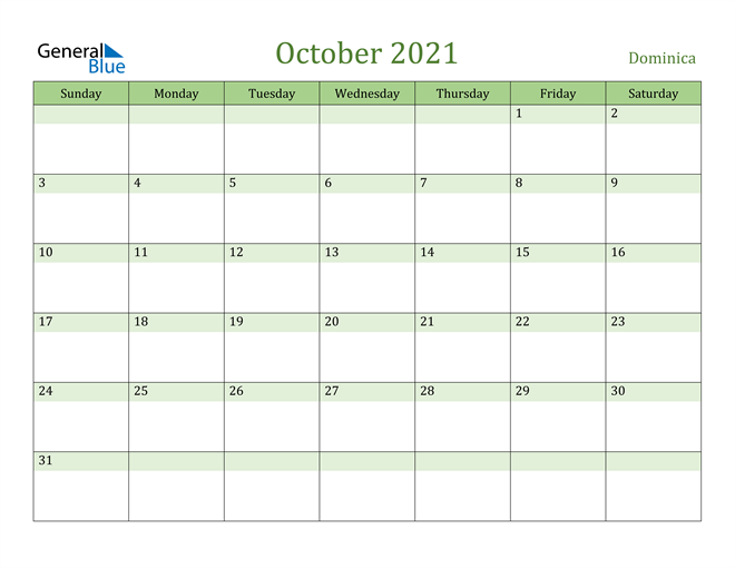 October 2021 Calendar with Dominica Holidays