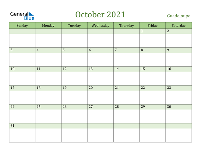 October 2021 Calendar with Guadeloupe Holidays
