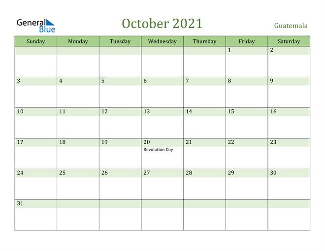 October 2021 Calendar with Guatemala Holidays