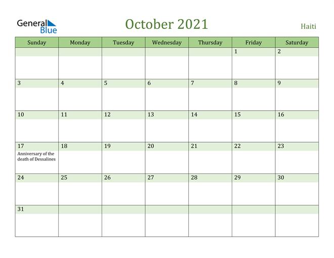 October 2021 Calendar with Haiti Holidays