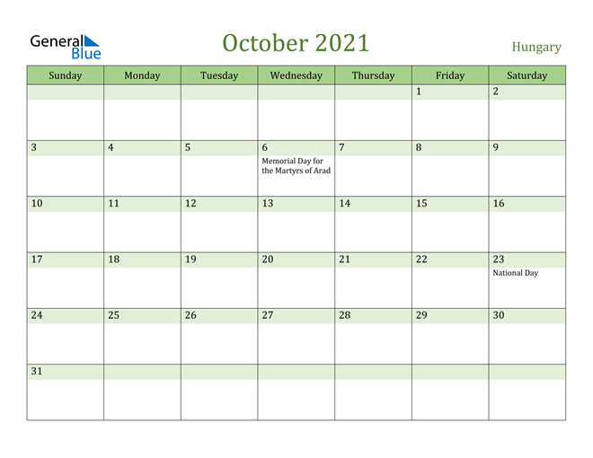 Image of October 2021 Cool and Relaxing Green Calendar Calendar