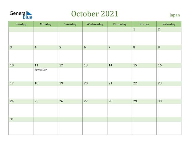 October 2021 Calendar with Japan Holidays