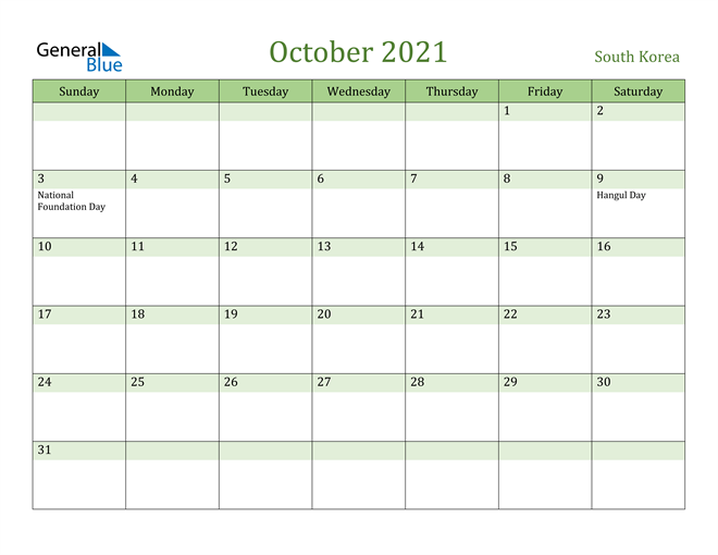 October 2021 Calendar with South Korea Holidays
