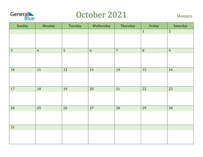 October 2021 Calendar with Monaco Holidays