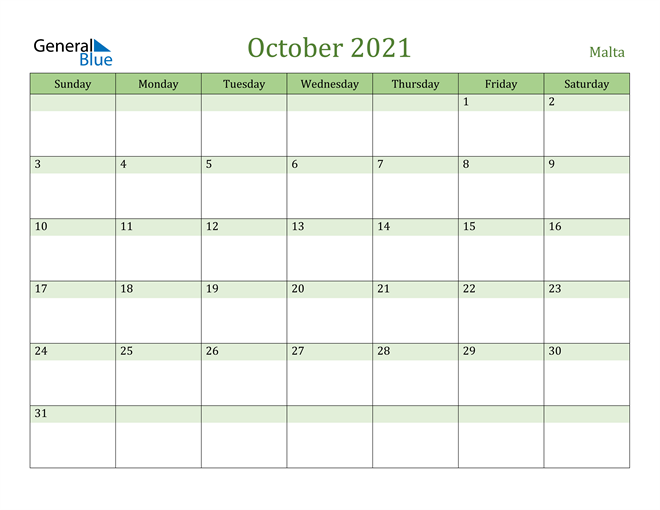 October 2021 Calendar with Malta Holidays