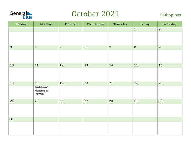 October 2021 Calendar with Philippines Holidays