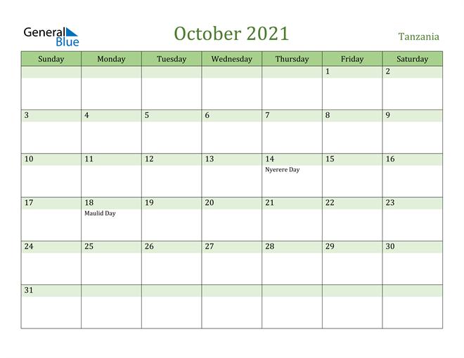October 2021 Calendar - Tanzania