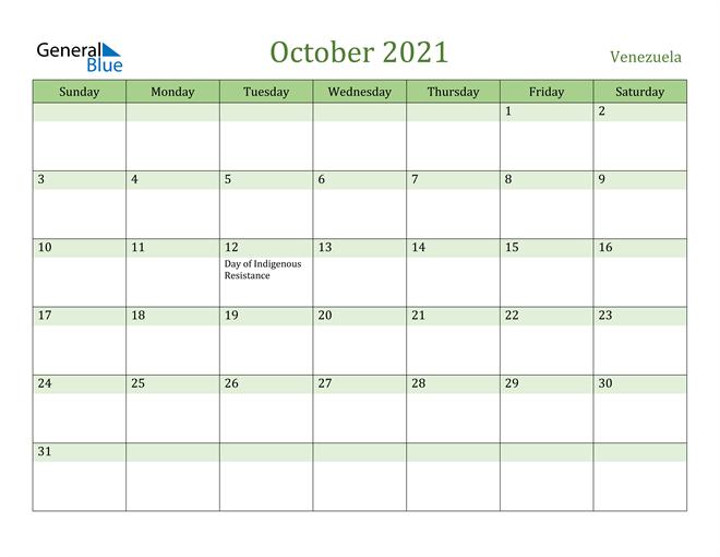 October 2021 Calendar with Venezuela Holidays