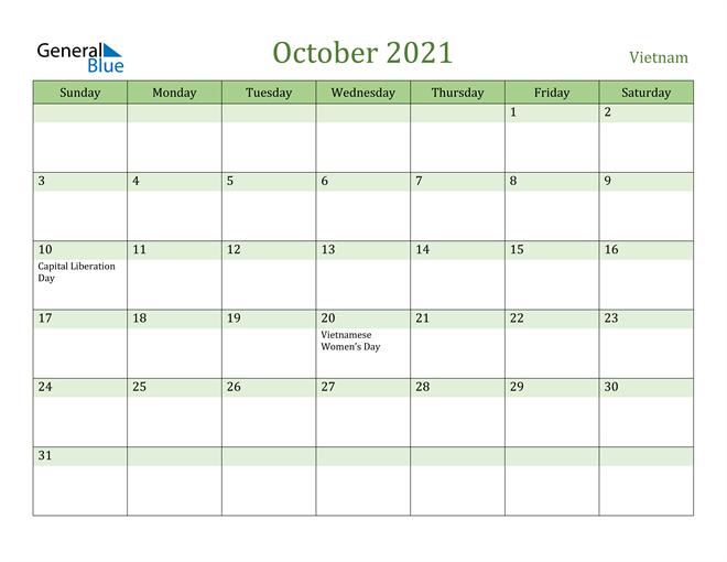 Vietnam October 2021 Calendar with Holidays