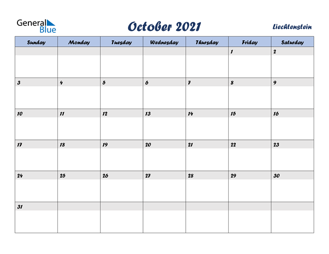 Image of October 2021 Italicized and Cool Blue, A Fun Calendar in PDF, Word and Excel Calendar