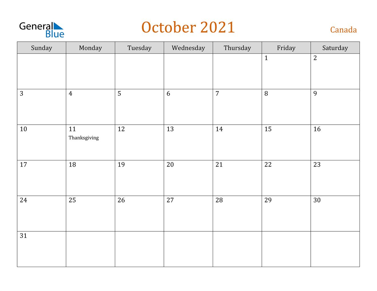 October 2021 Calendar - Canada
