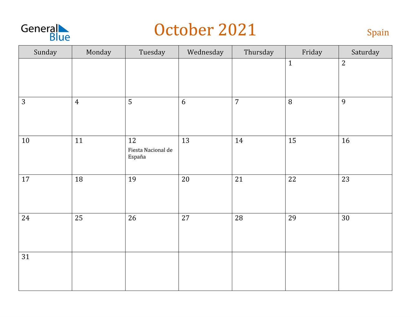 October 2021 Calendar - Spain