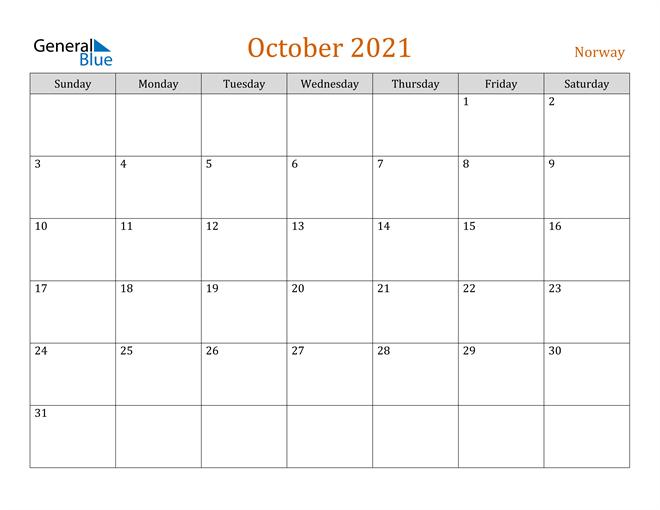 Image of October 2021 Contemporary Orange PDF, Word and Excel Calendar Calendar