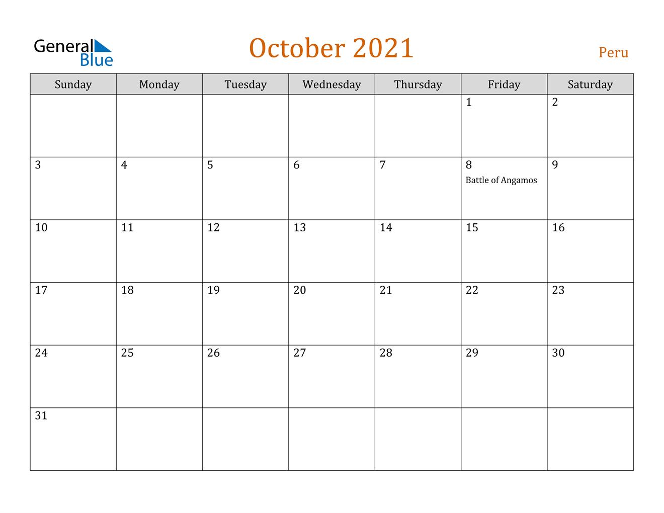 October 2021 Calendar - Peru
