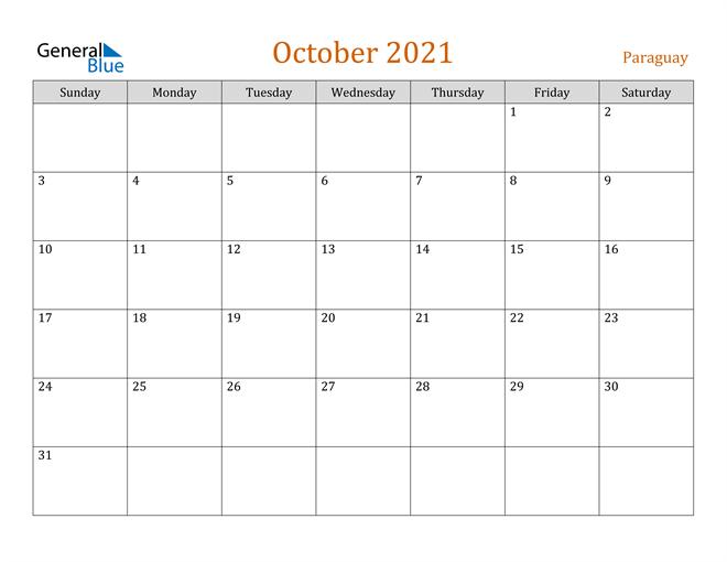 October 2021 Holiday Calendar