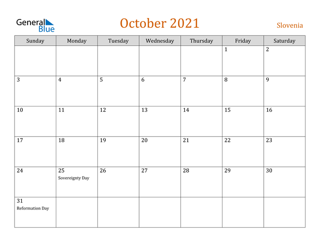 Image of October 2021 Contemporary Orange PDF, Word and Excel Calendar Calendar