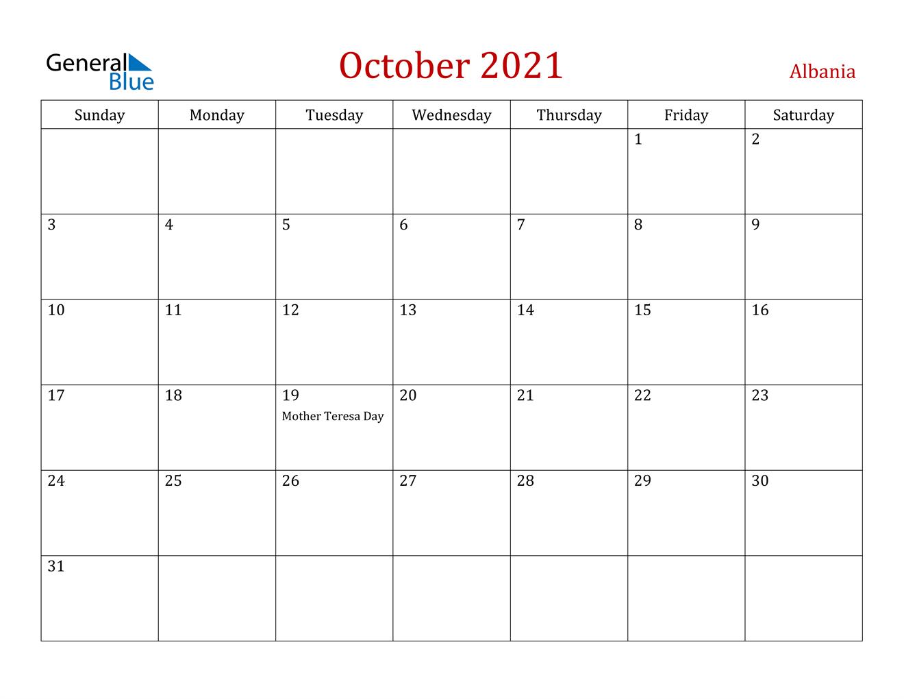 October 2021 Calendar - Albania