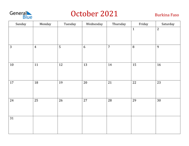Burkina Faso October 2021 Calendar