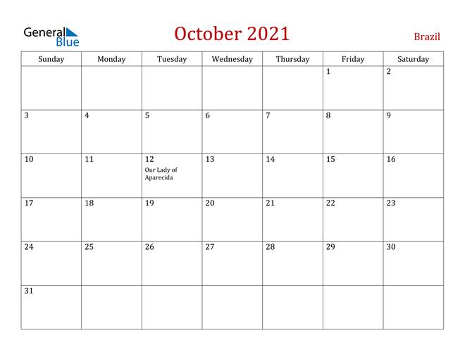 Brazil October 2021 Calendar