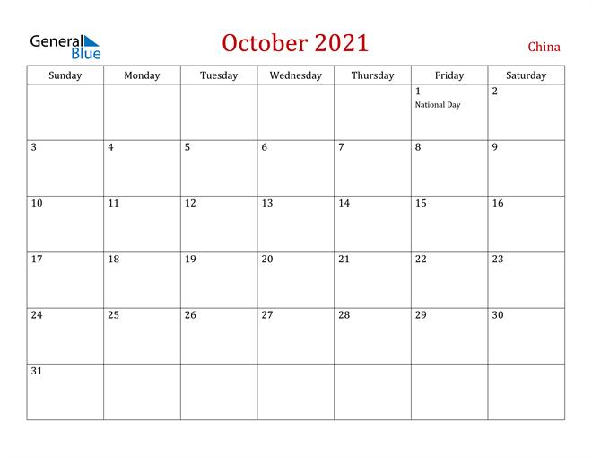 China October 2021 Calendar