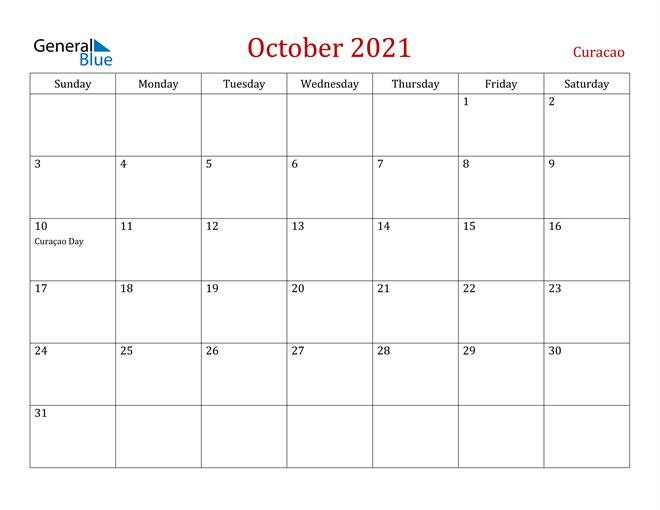 Curacao October 2021 Calendar
