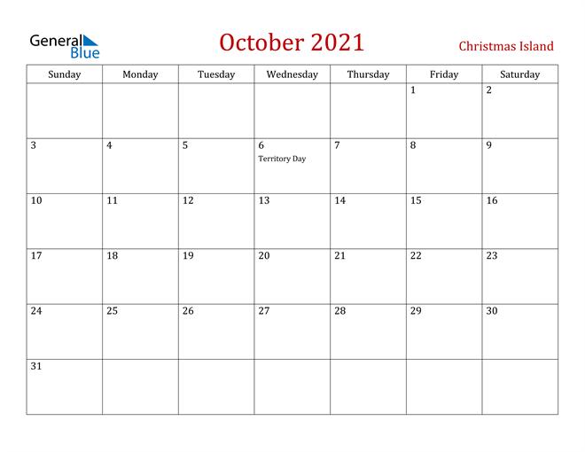 Christmas Island October 2021 Calendar