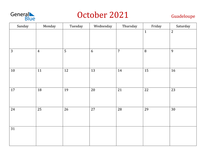 Guadeloupe October 2021 Calendar
