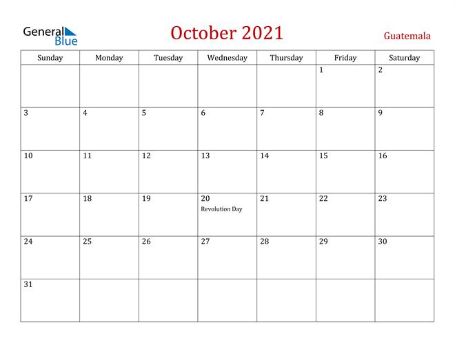 Guatemala October 2021 Calendar