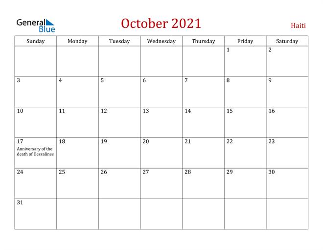 Haiti October 2021 Calendar