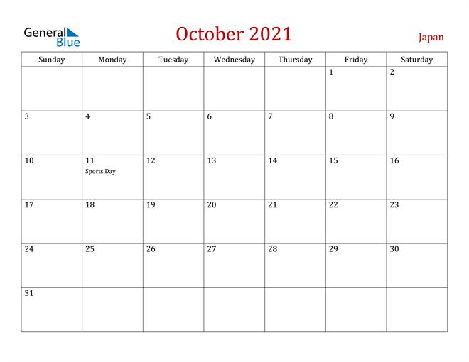 Japan October 2021 Calendar