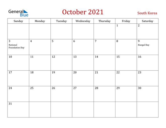 South Korea October 2021 Calendar