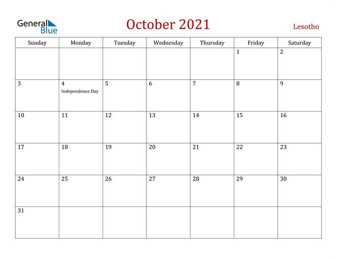 Lesotho October 2021 Calendar