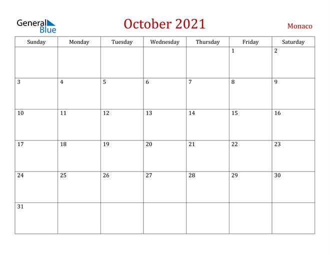Monaco October 2021 Calendar