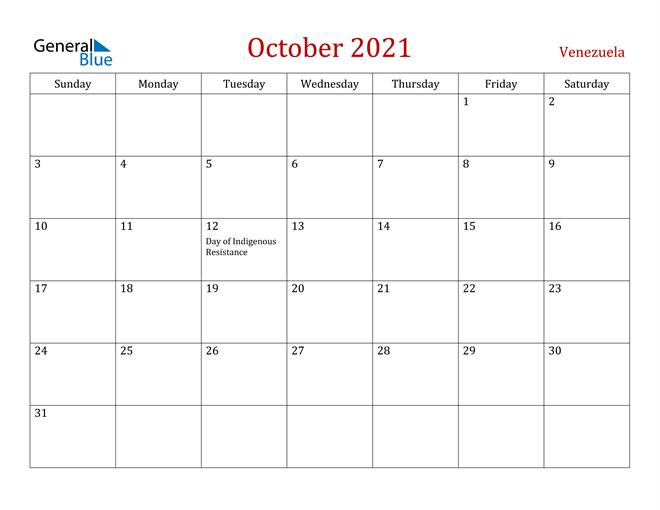 Venezuela October 2021 Calendar
