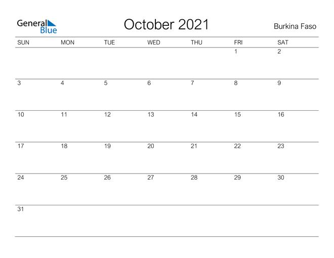 Printable October 2021 Calendar for Burkina Faso