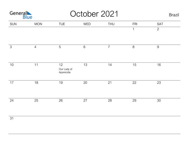 Printable October 2021 Calendar for Brazil