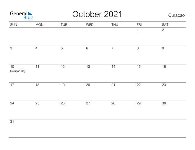 Printable October 2021 Calendar for Curacao