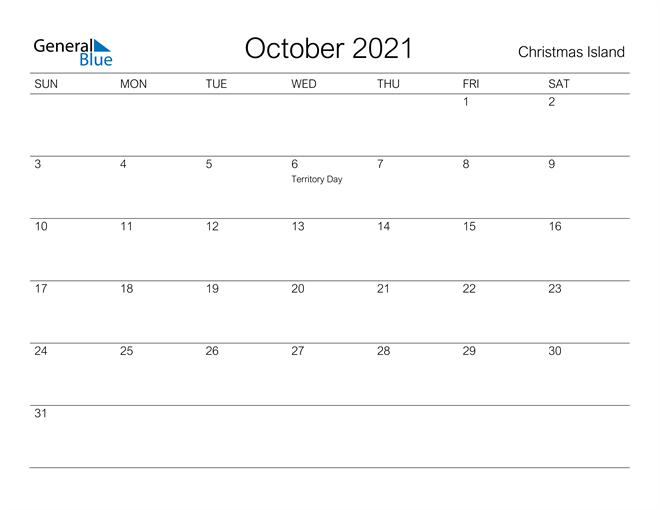 Printable October 2021 Calendar for Christmas Island