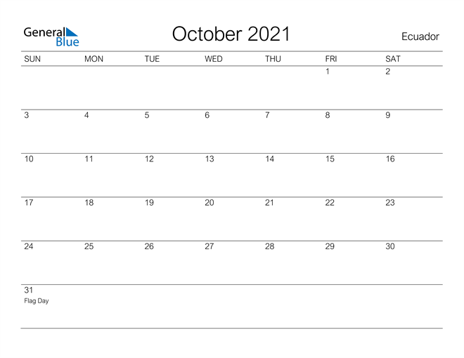 Image of October 2021 A Streamlined Design, The Perfect Printable Calendar. Calendar