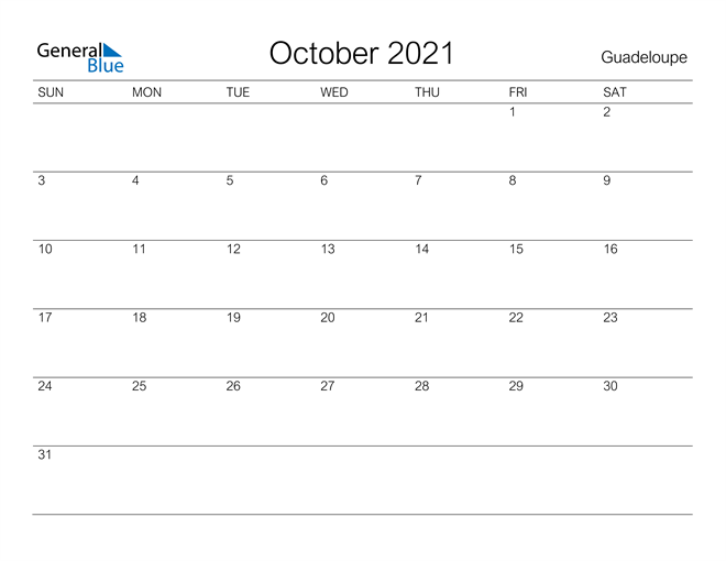 Printable October 2021 Calendar for Guadeloupe