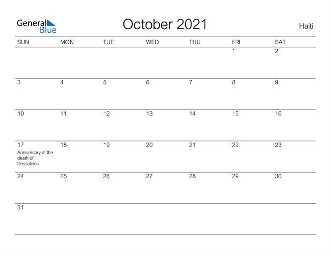 Printable October 2021 Calendar for Haiti