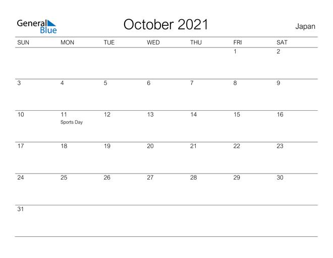 Printable October 2021 Calendar for Japan