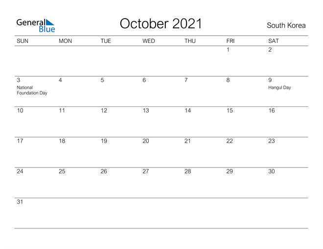 Printable October 2021 Calendar for South Korea