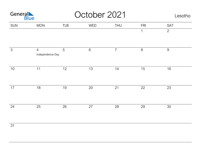 Printable October 2021 Calendar for Lesotho