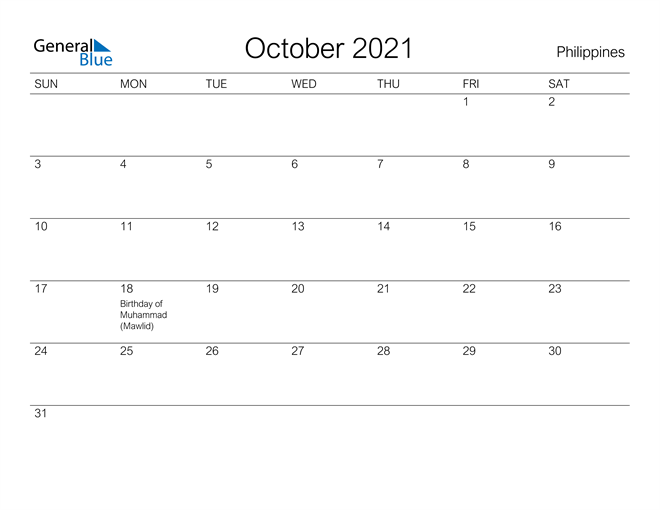Printable October 2021 Calendar for Philippines