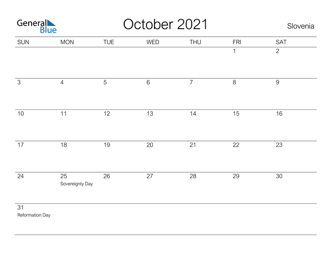 Image of October 2021 A Streamlined Design, The Perfect Printable Calendar. Calendar