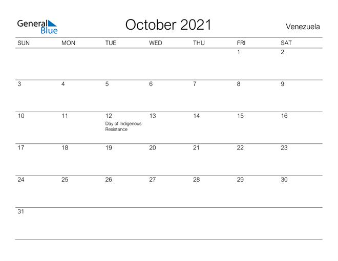 Printable October 2021 Calendar for Venezuela