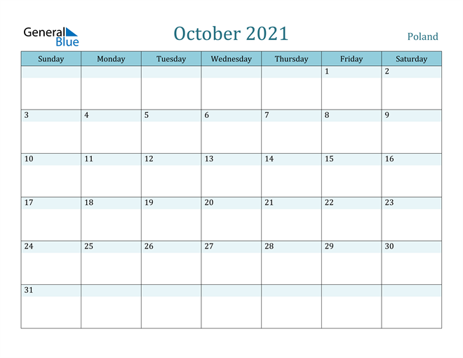 Image of October 2021 Colorful Turquoise Calendar in PDF, Word and Excel Calendar