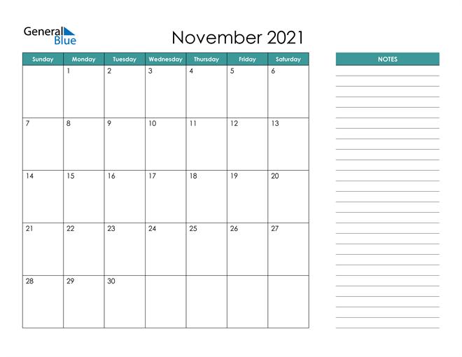 November 2021 Calendar with Notes